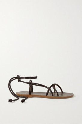 Brunello Cucinelli Beaded Braided Leather Sandals - Mushroom