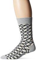 Happy Socks Men's 1pk Unisex Combed Cotton Crew-Gray Basket Weave