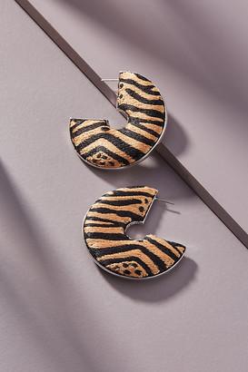 Mignonne Gavigan Zebra Hoop Earrings By in Black Size ALL