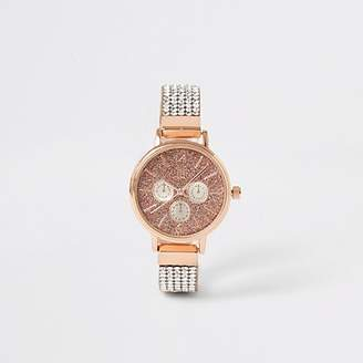 River Island Girls gold colour diamante strap watch