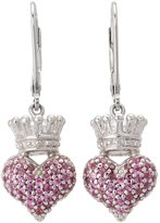 King Baby Studio Women's Small 3D Pink CZ Crowned Heart Earrings Earring