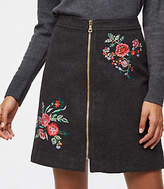 LOFT Floral Embroidered Zip Skirt