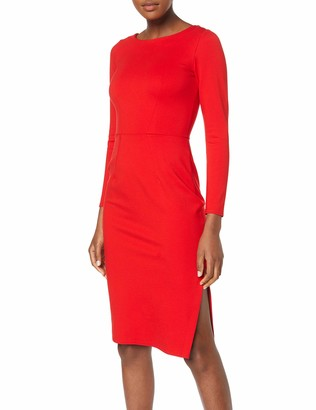 Closet London Women's Long Sleeve Knee Lenght Bodycon Dress Party Red (Red) (Size:14)