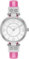Liz Claiborne Icon Womens Pink Leather Strap Watch