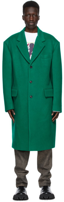 we11done Green Wool Single Coat