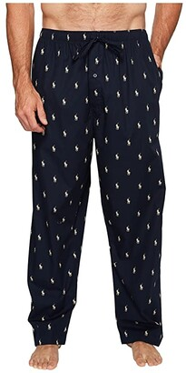 Polo Ralph Lauren Tall All Over Pony Player Woven Pants (Navy/White Polo Player) Men's Pajama