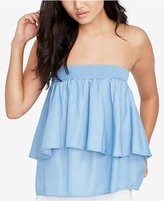 Rachel Roy Chambray Tiered Strapless Top, Created for Macy's