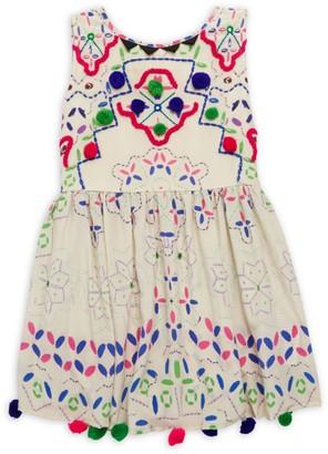 HEMANT AND NANDITA Girl's Silk Pom-Pom Dress