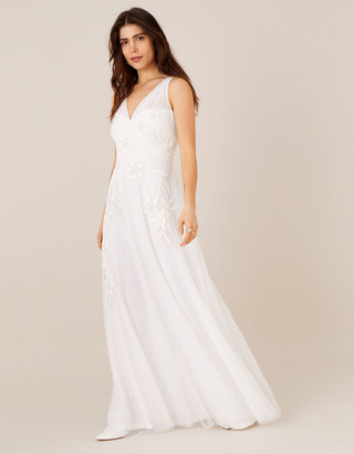 Monsoon Lucy Floral Embroidered Bridal Dress Ivory
