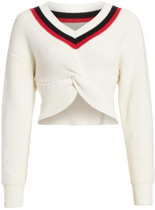 Alexander Wang Cropped Ribbed-Knit Varsity Sweater