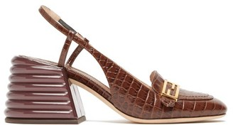 Fendi Promenade Slingback Crocodile-effect Leather Pumps - Womens - Dark Brown
