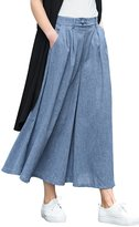 You.U Women Casual Crop Culotte Wide-Leg/Palazzo trousers Ankel Length with Knod Details, Mid Rise Waist Pull On & Loose Fit, Work/Leisure/Office Wear, Soft & Cool Material - Size L