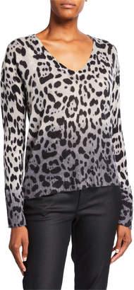 360 Sweater 360sweater Lauren Leopard-Print Ombre Cashmere Sweater
