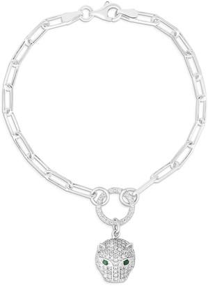 Sphera Milano 14K White Gold Plated Sterling Silver Pave CZ Panther Link Bracelet