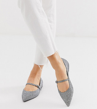 Asos DESIGN Wide Fit Lucas mary jane ballet flats in silver