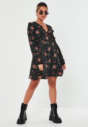 Missguided Petite Black Floral Print Shift Dress