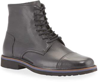 Donald J Pliner Men's Leather Cap-Toe Hiker Boots