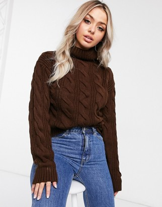 NA-KD cable-knit jumper in brown