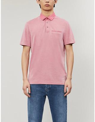 Ted Baker Contrast-collar woven polo shirt