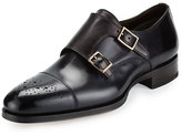 Tom Ford Austin Double-Monk Strap Leather Loafer, Grey