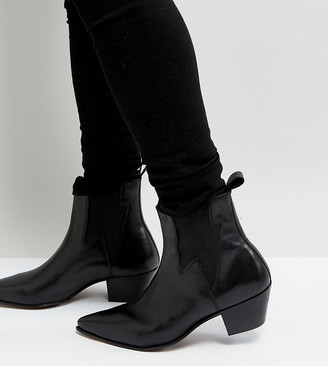 Asos DESIGN Wide Fit stacked heel western boots in black leather with lightning detail