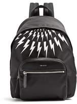 Neil Barrett Thunderbolt Leather-trimmed Nylon Backpack