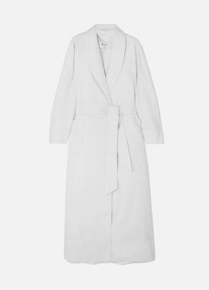 Johnstons of Elgin Silk Satin-trimmed Cashmere Robe - Light gray