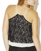 Wet Seal Lace Overlay T-Back Cami
