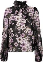 Giambattista Valli floral print ruffle neck blouse