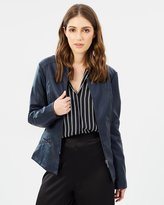 Oasis Faux Leather Collarless Jacket