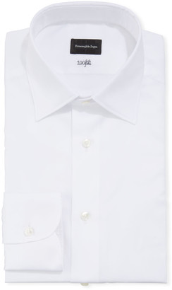 Ermenegildo Zegna Men's Solid Cento Fili Cotton Regular-Fit Dress Shirt