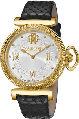 Roberto Cavalli By Franck Muller 38mm Classic Leather Watch, Gold/Black