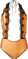 Oseree - lace embellished swimsuit - women - Cotton/Nylon/Polyamide/Spandex/Elastane - S