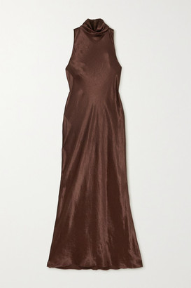 Vince Hammered-satin Turtleneck Midi Dress - Brown