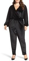 Melissa McCarthy Velvet Surplice Jumpsuit (Plus Size)
