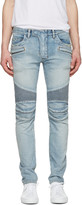 Balmain Blue Distressed Biker Rib Jeans