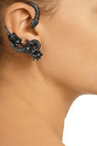 Roberto Cavalli Snake Flowers ruthenium-plated Swarovski crystal clip ear cuffs