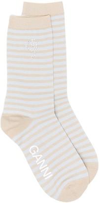 Ganni Striped Metallic-Thread Socks