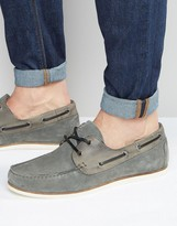 Asos Boat Shoes In Grey Suede With Perforation