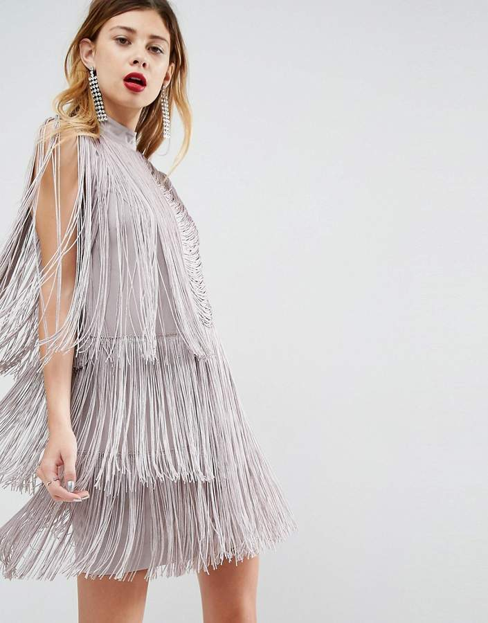 Asos Design DESIGN premium fringe shift mini dress