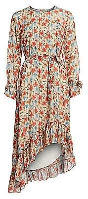 Munthe Women's Know Floral Silk-Blend Ruffled High-Low Dress