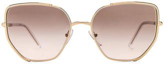 Prada Metal Angular Sunglasses in Pale Gold & Grey Gradient | FWRD