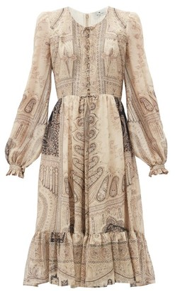 Etro Lace-up Paisley-print Silk-blend Dress - Beige Multi