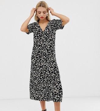 Monki daisy flower print midi shirt dress in black