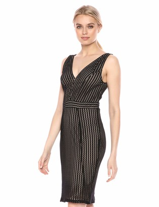 BCBGMAXAZRIA Azria Women's Striped Lace Sheath Dress