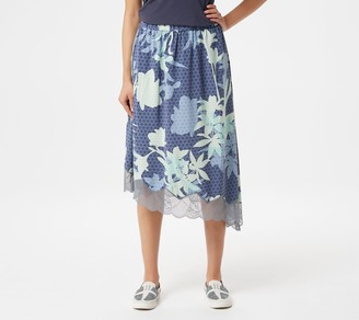 Logo by Lori Goldstein Printed Bi-Stretch Skirt with Lace
