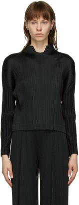 Pleats Please Issey Miyake Black Monthly Colors Plisse Moto Jacket