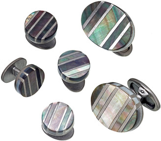 Jan Leslie Oval Cufflinks & Stud Sets with Mother-of-Pearl Stripes