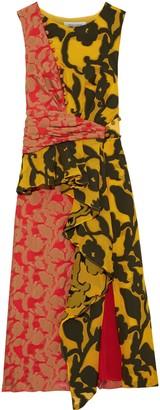 Prabal Gurung Draped Fil Coupe Peplum Midi Dress
