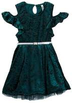 Beautees Belted Flocked Velvet Dress with Necklace (Big Girls)
